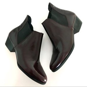 NEW Zara Leather Ankle Boots Elastic Panel Oxblood